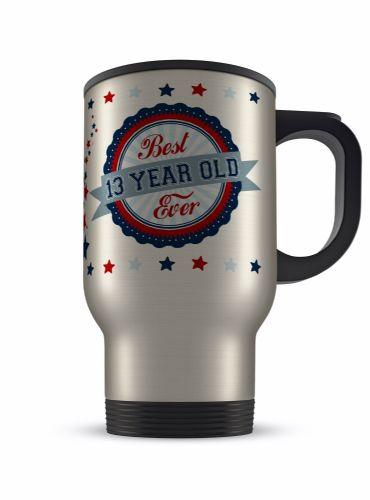 14oz Best Ever Age 13 - 100 Novelty Gift Aluminium Travel Mug - Blue/Red